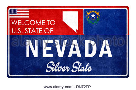 Welcome to Nevada - grunde sign - Stock Image