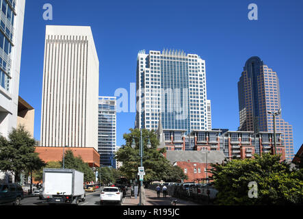 CHARLOTTE, NC, USA-10/30/18: Skyline facing from Tryon at Stonewall. - Stock Image