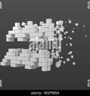 aquarius zodiac sign shaped data block. version with white cubes. 3d pixel style vector illustration. suitable for blockchain, technology, computer an - Stock Image