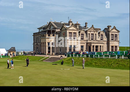 The old course 18th green and golf clubhuse St Andrews Fife Scotland UK - Stock Image