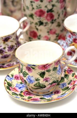 Chintz Design Pattern Pottery Ceramics Tableware Collection - Stock Image