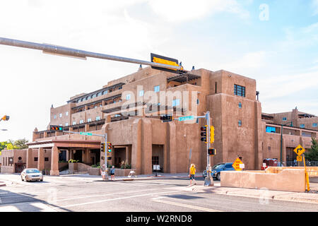 Santa Fe, USA - June 14, 2019: Old town street and Eldorado hotel in United States New Mexico city with adobe style architecture - Stock Image