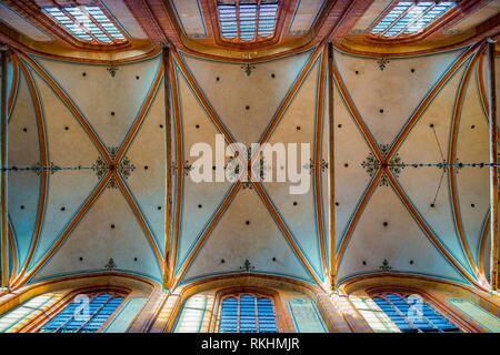 Ceiling vault of the church St. Nikolai, Brick Gothic, Wismar, Mecklenburg-Western Pomerania, Germany - Stock Image