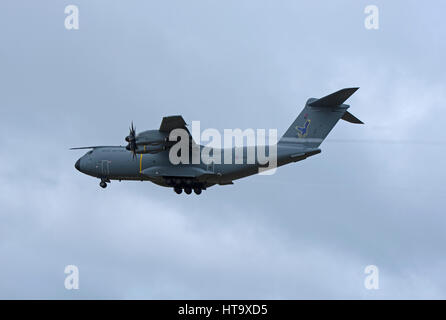 The Atlas A400M heavy transport aircraft on approach to RAF Lossiemouth, Morayshire. North East Scotland. - Stock Image