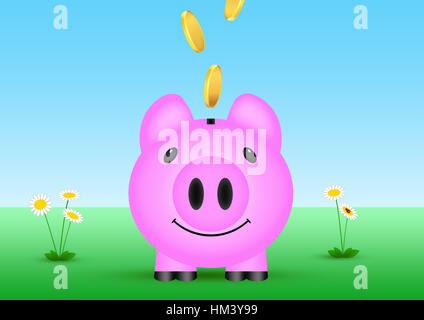 illustration of coins thrown in piggy bank  outside in nature - Stock Image
