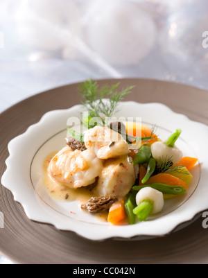 Monkfish and Morels Navarin - Stock Image