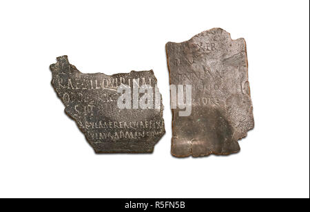 Seville, Spain - July 7th, 2018: Roman military diploma fragments, at Archaeological Museum of Seville, Andalusia, Spain - Stock Image