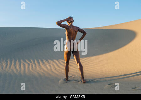 Nude woman standing in desert - Stock Image