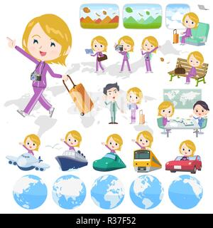 A set of women in sportswear on travel.There are also vehicles such as boats and airplanes.It's vector art so it's easy to edit. - Stock Image