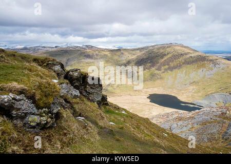 View from Moel y Hydd hillside to Llyn Cwmorthin lake in glacial valley below. Tan y Grisau, Blaenau Ffestiniog, - Stock Image