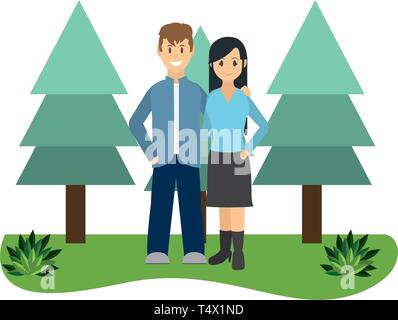 Couple woman and man smiling on nature park vector illustration graphic design - Stock Image