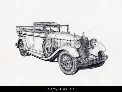 Pen and ink stippling effect drawing of antique car - Stock Image