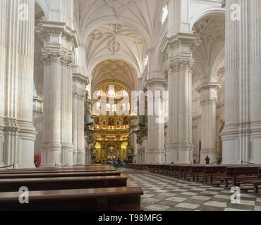 The nave of the cathedral.  Full name, Santa Iglesia Catedral Metropolitana de la Encarnacion, or Metropolitan Cathedral of the Incarnation, Granada,  - Stock Image