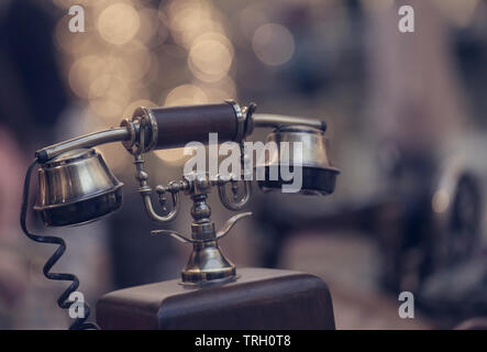 Antique telephone receiver used early of 20th century - Stock Image