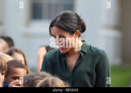 Meghan Markle Duchess of Sussex and Prince Harry, Duke of Sussex on a visit to Brighton Pavilion, East Sussex on October 3rd 2018. It is the couple's first visit to Sussex as the new Duke and Duchess of the county. - Stock Image