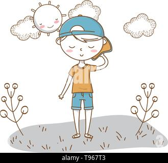 Stylish boy blushing cartoon outfit shorts backwards cap  nature clouds background frame and sun vector illustration graphic design - Stock Image