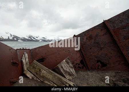 A rusting tank lies abandoned on the beach of Deception Island, Antarctica - Stock Image