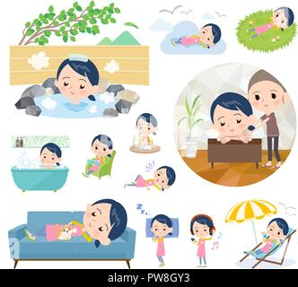 A set of Childminder women about relaxing.There are actions such as vacation and stress relief.It's vector art so it's easy to edit. - Stock Image