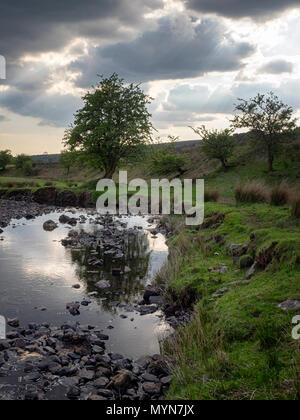 Dramatic skies over the river Hepste (Afon Hepste) at Tir-yr-onen, near Penderyn, Brecon Beacons, Wales, UK - Stock Image