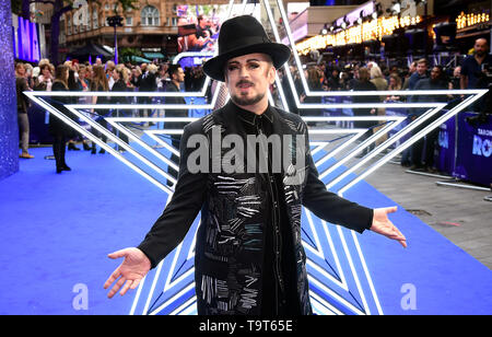 Boy George attending the Rocketman UK Premiere, at the Odeon Luxe, Leicester Square, London. - Stock Image