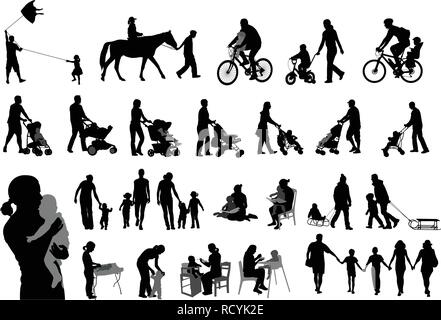 parents spending family time with their children silhouettes - vector - Stock Image