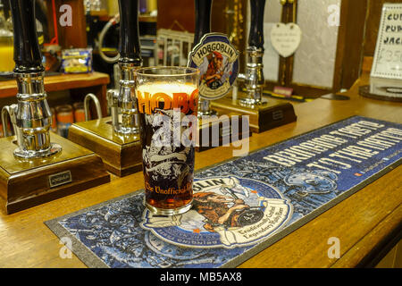 Pint of Hobgoblin Bitter on a Pub Bar - Stock Image