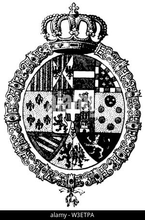 Coat of arms of Spain, ,  (cultural history book, 1875) - Stock Image