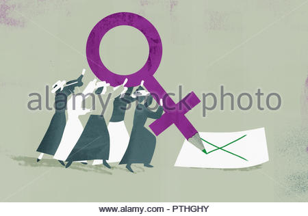 Suffragettes voting with large female gender symbol pencil - Stock Image