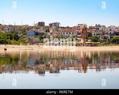 Platanes Beach iconic beach in Skala Marion Town, Thasos, Greece - Stock Image