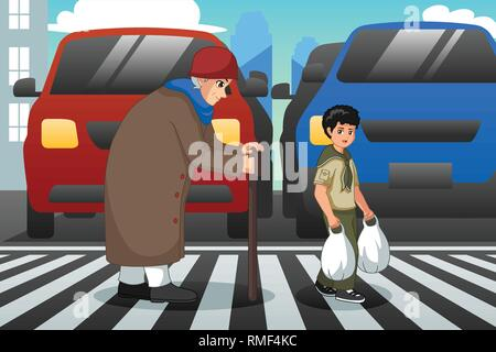 A vector illustration of Boy Helping Old Lady Crossing Street - Stock Image