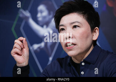 Monaco. 17th Feb, 2019. Laureus Academy member, former Chinese table tennis player Deng Yaping receives an interview in Monaco, Feb. 17, 2019, one day ahead of 2019 Laureus World Sports Awards ceremony. Credit: Zheng Huansong/Xinhua/Alamy Live News - Stock Image