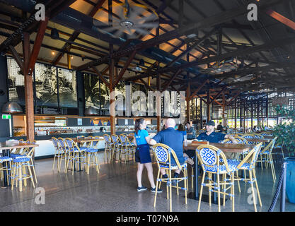 Inside Hemingway's Brewery, a Heritage listed converted boat terminal building on Cairns Wharf, Far North Queensland, FNQ, QLD, Australia - Stock Image