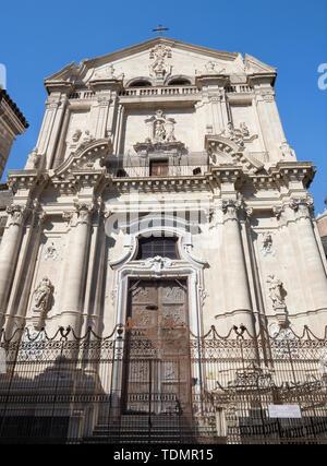 Catania - The baroque portal of church Chiesa di San Benedetto. - Stock Image
