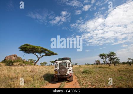 Tanzania, Serengeti. A Land Rover drives through some typical Serengeti landscape around the Maasai Kopjes. - Stock Image