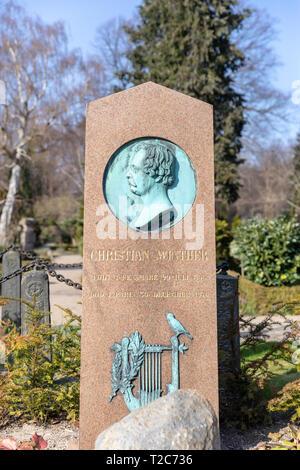 Christian Winther (1796-1876), Danish poet; grave in the Cemetery of Holmen (Holmens Kirkegård) in Copenhagen, Denmark - Stock Image