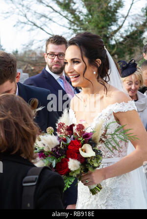 Soprano Laura Wright's traditional church wedding to rugby player Harry Rowland - Stock Image