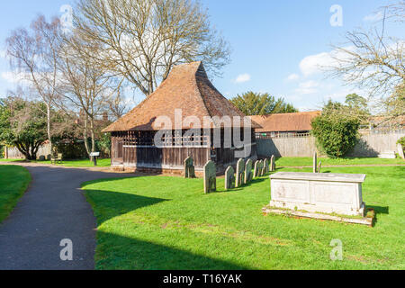 the bell cage at st marys church East Bergholt suffolk 15th 16th century - Stock Image