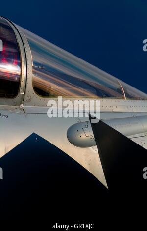 Jet fighter aircraft cockpit windshield detail closeup close-up Typhoon Eurofighter - Stock Image