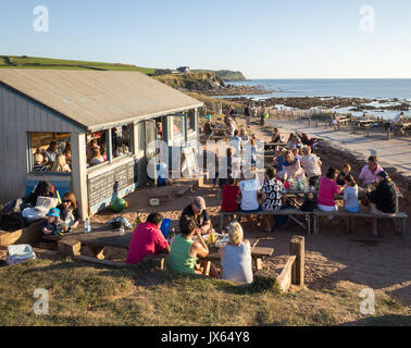 The Beach House beach cafe at South Milton Sands near Thurlestone in the South Hams in Devon - Stock Image