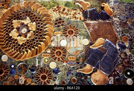 Ceramic tiling close up on Malasian toilet building - Stock Image