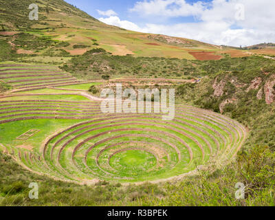 Views of the archaeological site of Moray in Peru, near Cuzco and the village of Maras - Stock Image