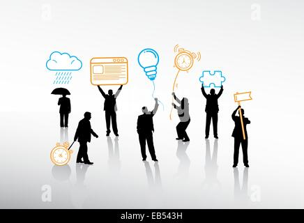 Business people holding various icons on string - Stock Image