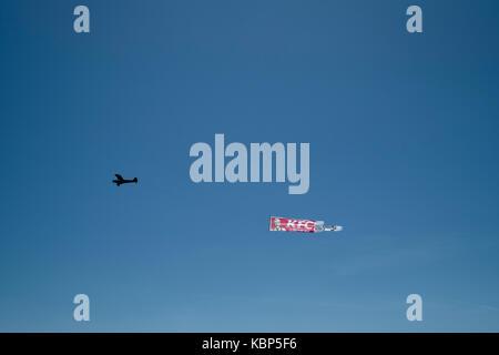 Aerial advertisement for KFC, Lloret de Mar, Spain - Stock Image