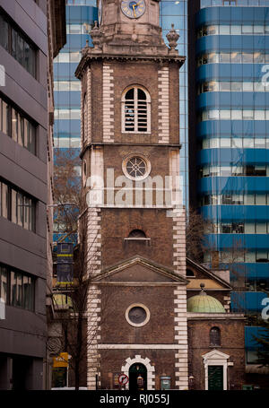St Boltolph without Aldgate. or St Boltolph's Aldgate or just Aldgate Church. February 2019. St Botolph's Aldgate is a Church of England parish church - Stock Image