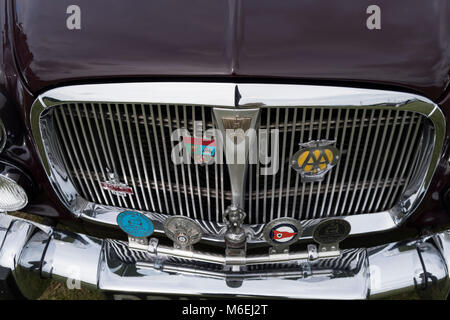 Front grill of a Rover 3.5 P5 litre classic car from the 1960s, at a rally in Ramsgate Kent, July 2017 - Stock Image