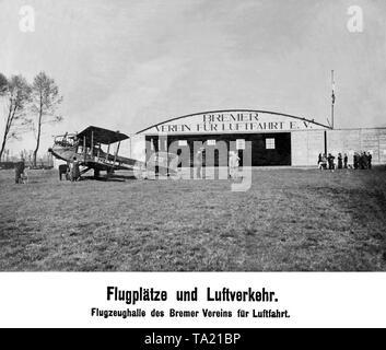 Hangar of the Bremer Verein fuer Luftfahrt with a Sablatnig P.1 of the airline Sablatnig. - Stock Image