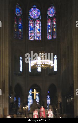 France Paris Inside Notre Dame De Paris Cathedral - Stock Image