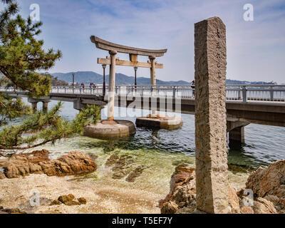 27 March 2019: Gamagori, Japan - The bridge to the island of Takeshima, off Gamagori. - Stock Image