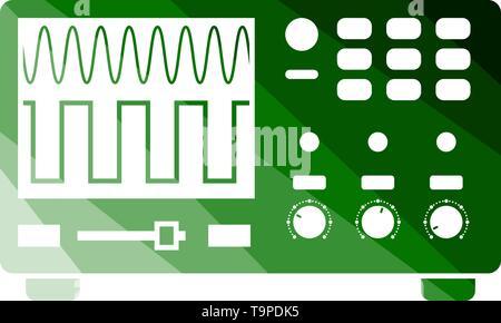 Oscilloscope Icon. Flat Color Ladder Design. Vector Illustration. - Stock Image