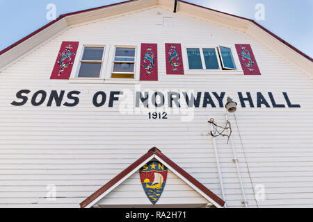 The Sons of Norway Hall Fedrelandet Lodge in the tiny village of Petersburg on Mitkof Island, Alaska. Petersburg settled by Norwegian immigrant Peter Buschmann is known as Little Norway due to the high percentage of people of Scandinavian origin. - Stock Image